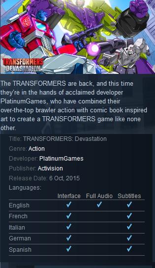 TRANSFORMERS: Devastation Steam Action